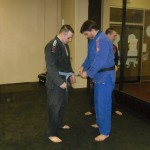 Eric receiving 2nd stripe on his blue belt.