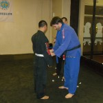 James receiving his blue belt.