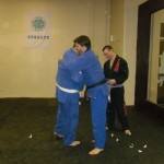 Brandon receiving his blue belt.